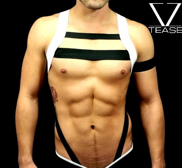 White Black Body Strap Men's Harness
