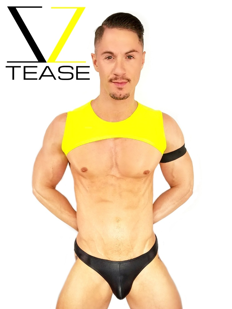 Yellow Men's Sleeveless Crop Top