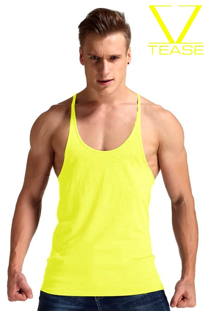 Yellow Stringer Racerback Muscle Tank Top