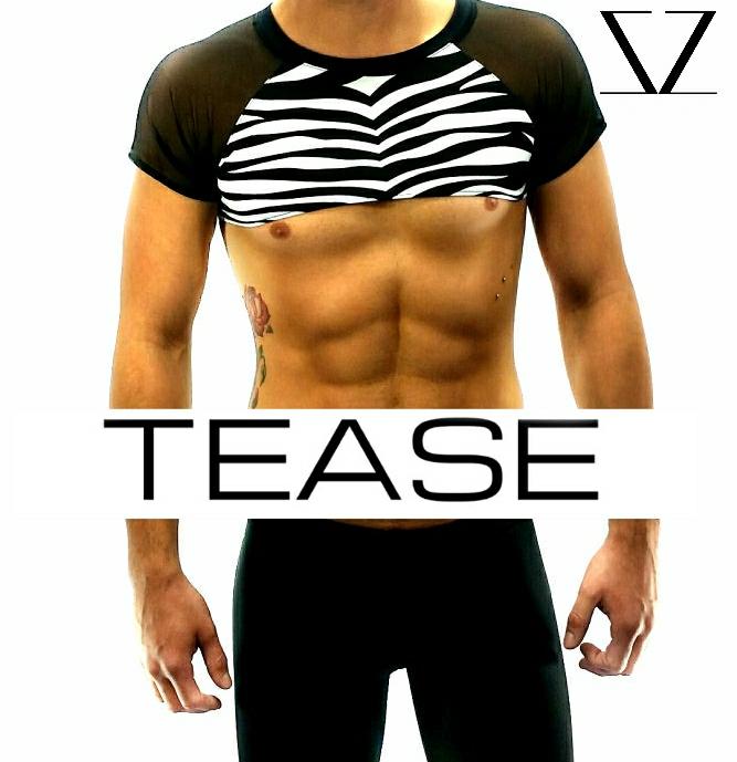 Zebra Crop Top Men's Clubwear