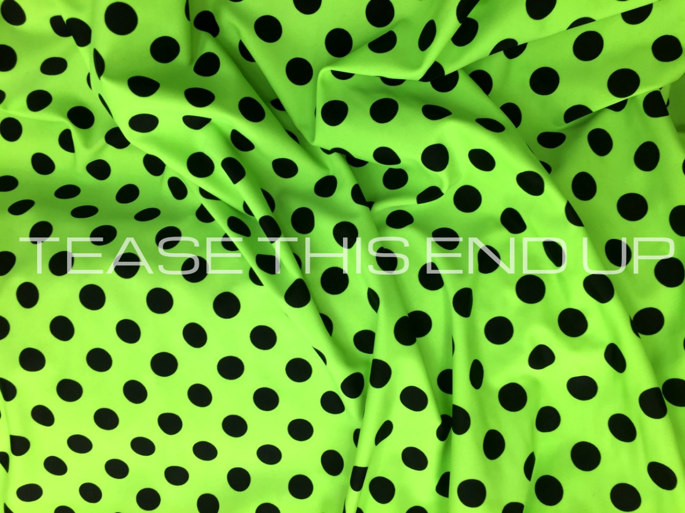 Neon Lime with Black Dots Spandex 4 Way Stretch Fabric